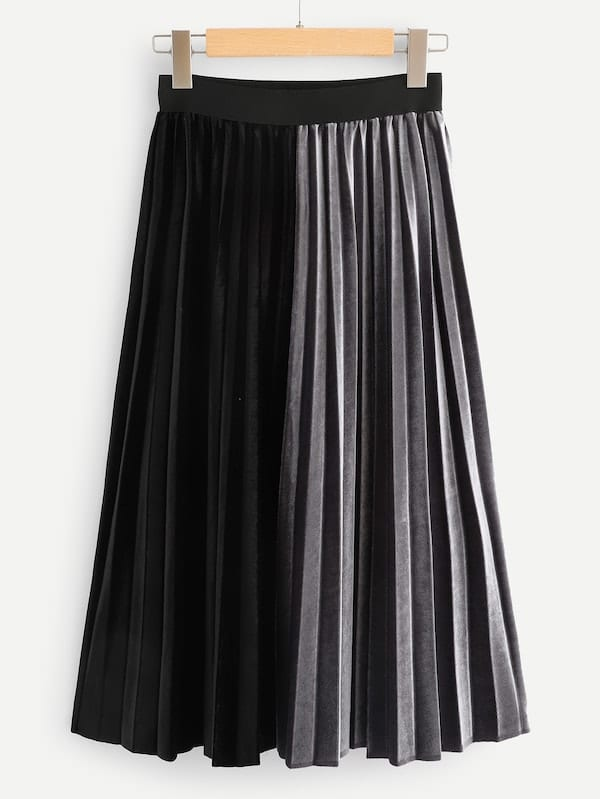 Velvet Two Tone Pleated Skirt