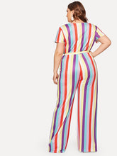Colorful  Striped Curvy Jumpsuit
