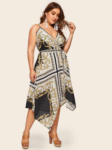 Plus Baroque Print Wrap Cami Dress