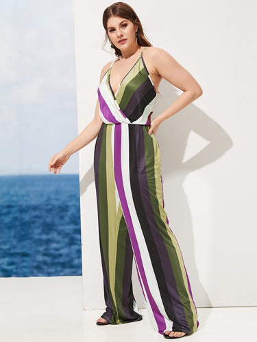 Plus Striped Wide Leg Cami Jumpsuit