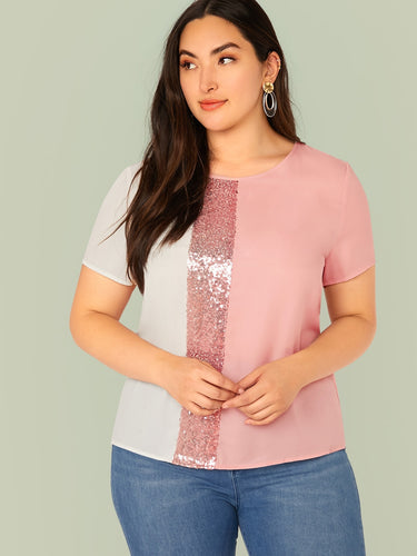 Pink & White Sequin Panel Top