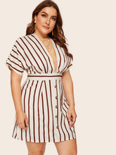Michelle Deep V-neck Striped Dress