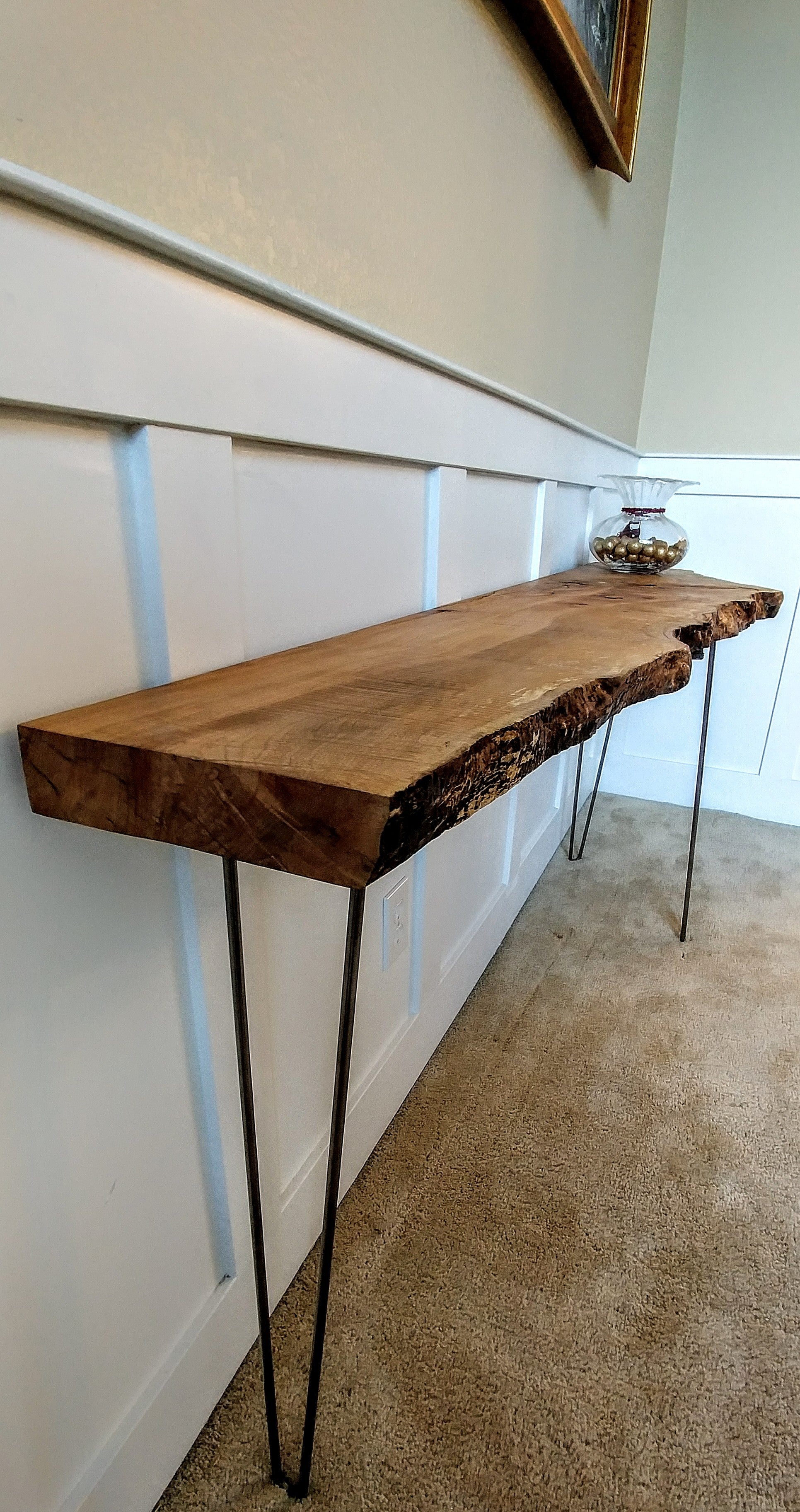 live edge console table Sold Out   Tiger Maple Live Edge Console Table – Adansonia Woodworks live edge console table