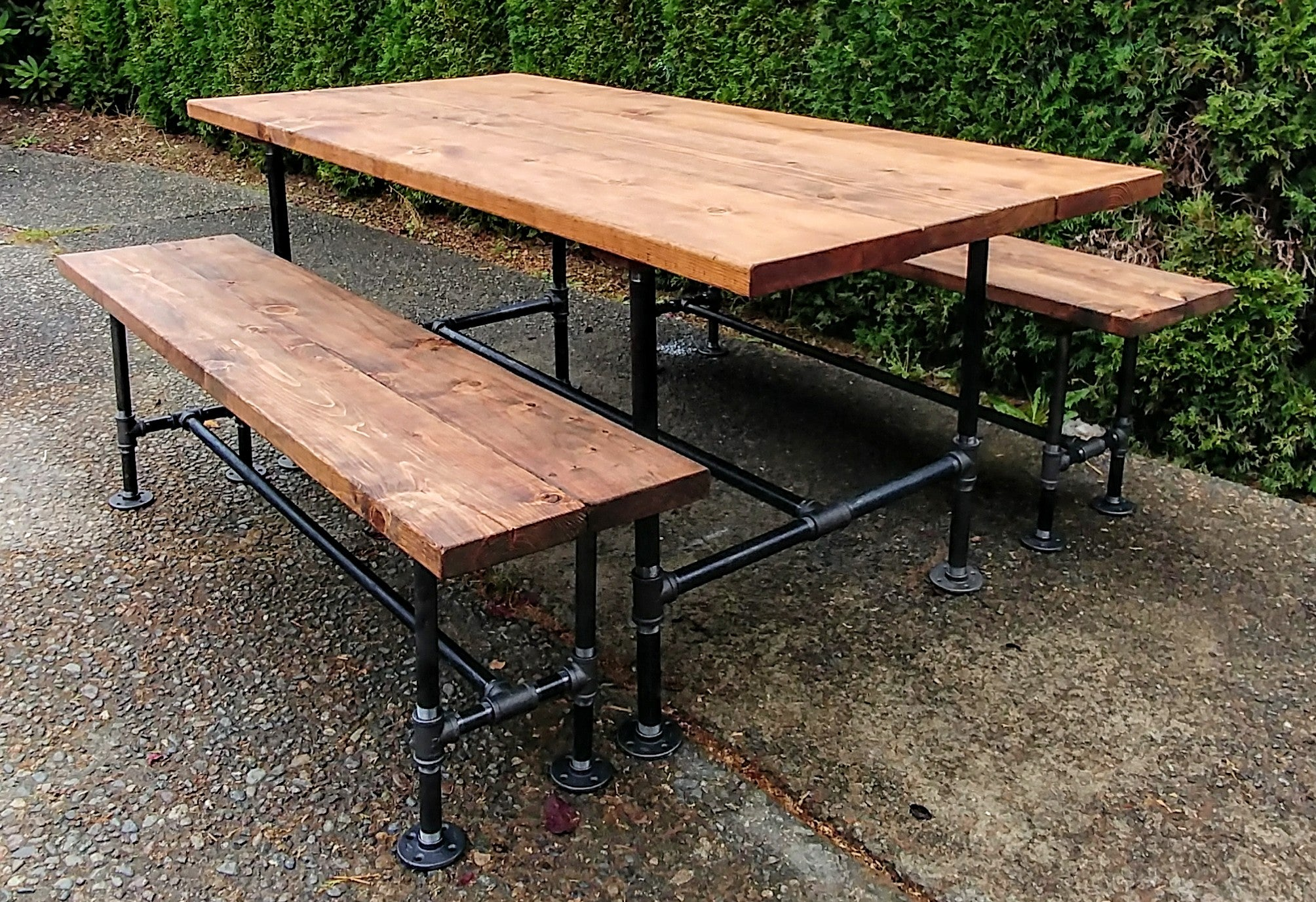 Modern Industrial Style Pipe Dining Table And Benches Set.