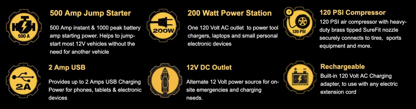 CAT Power Station 3-in-1 Jump Starter Air Compressor & Power Supply - Power Solution