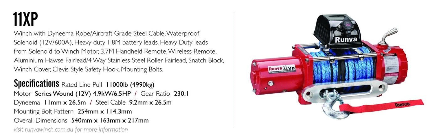 Runva 11XP 24V Winch with Synthetic Rope - IP67 Motor (RED) - Electric Winch