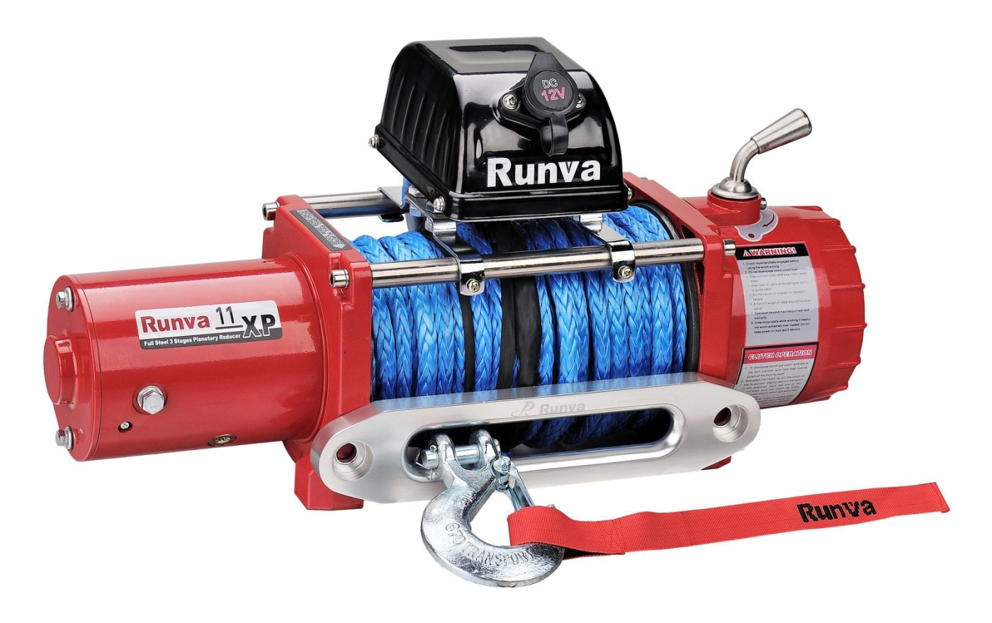 runva-11xp-24v-with-synthetic-rope-ip67-motor-red