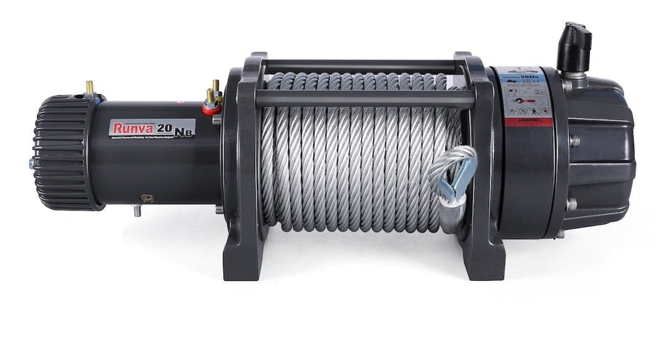 Runva EWB20000 PREMIUM 12V/24V Winch with Steel Cable - full IP67 protection - Electric Winch