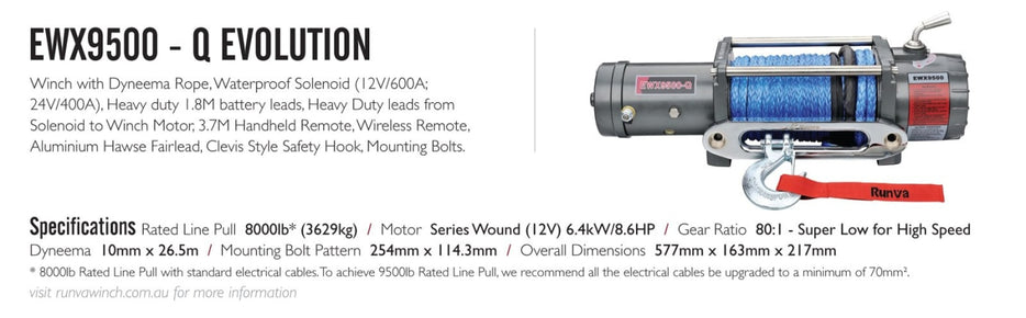 Runva EWX9500-Q 12/24V Evo Winch with Synthetic Rope - Electric Winch