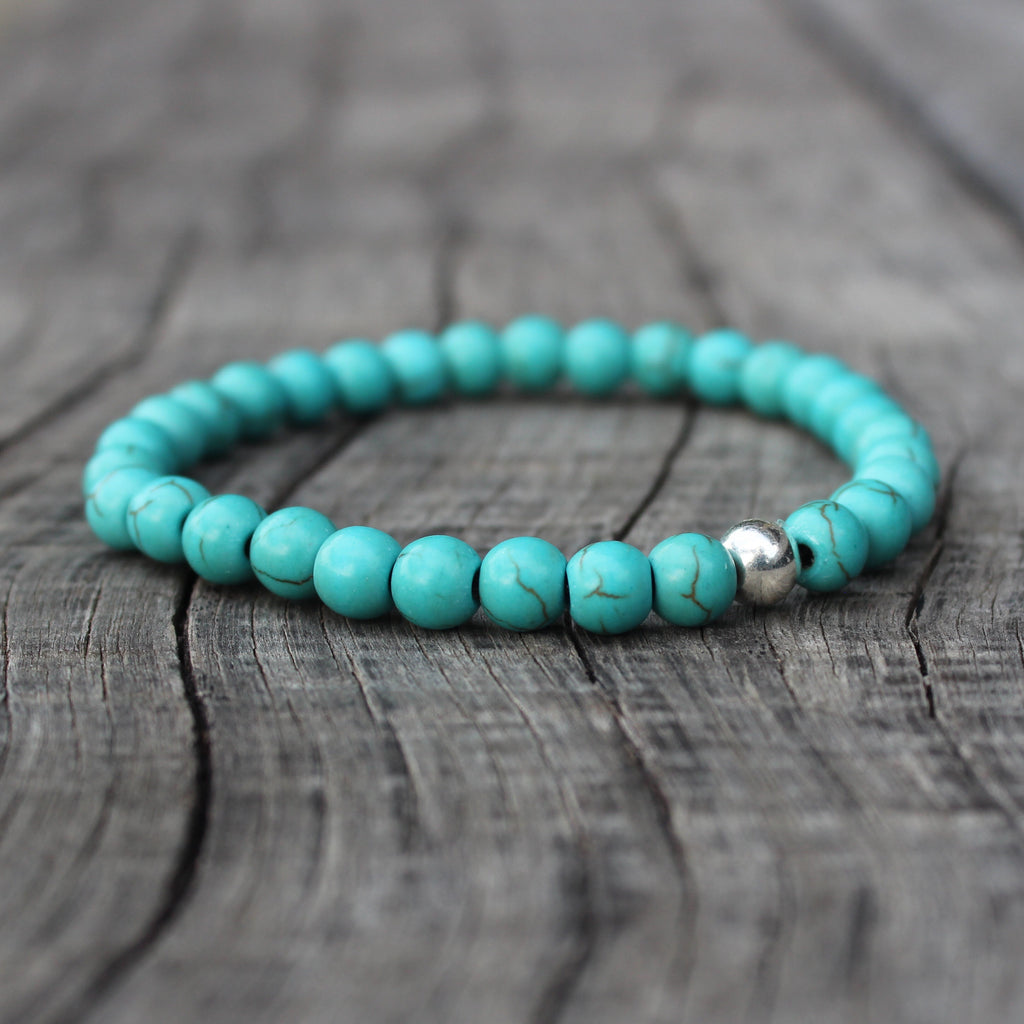 Turquoise dyed stretch bracelet (6mm)