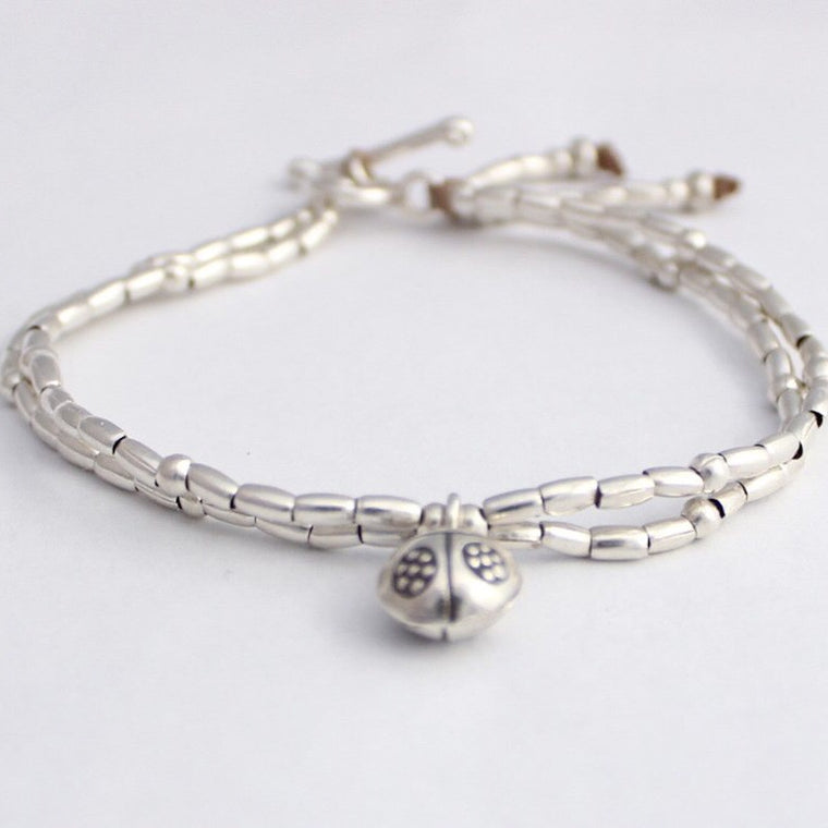 Bracelet - Hill Tribe Silver - lady beetle