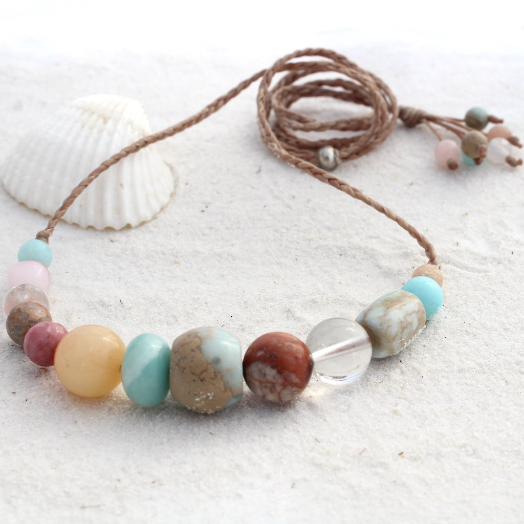 Gemstone and waxed cord necklace - Vibrant coral reef