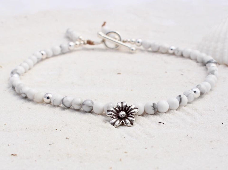 Hill Tribe Silver and Gemstone Anklet with Charm - Whitehaven
