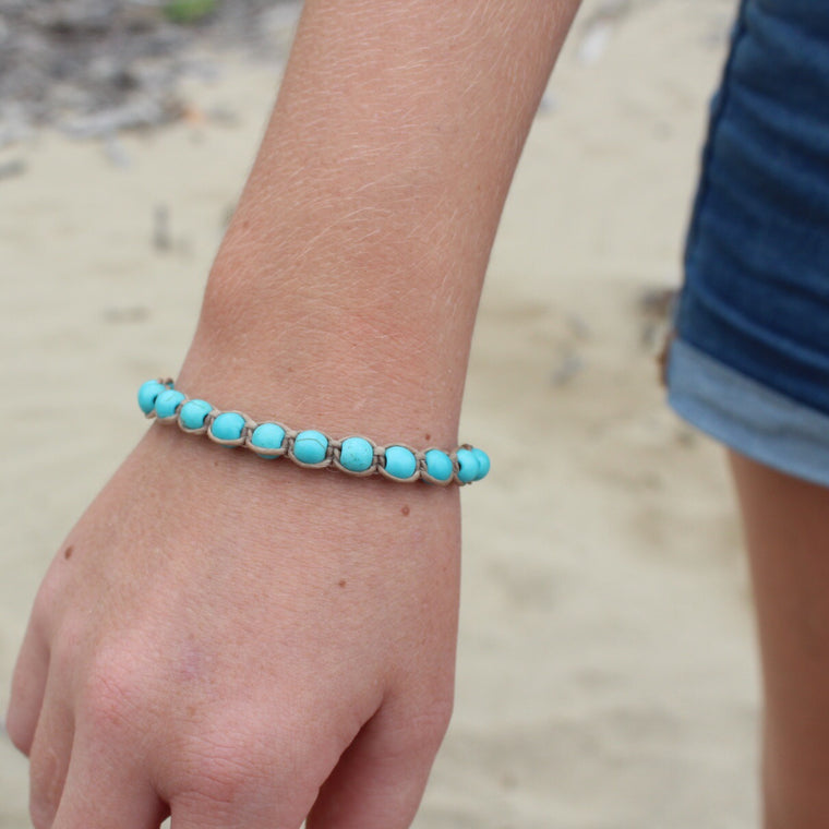 Macrame Single Wrap Bracelet - Blue Turquoise