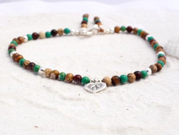 Hill Tribe Silver and Gemstone Anklet with Charm - Rainforest