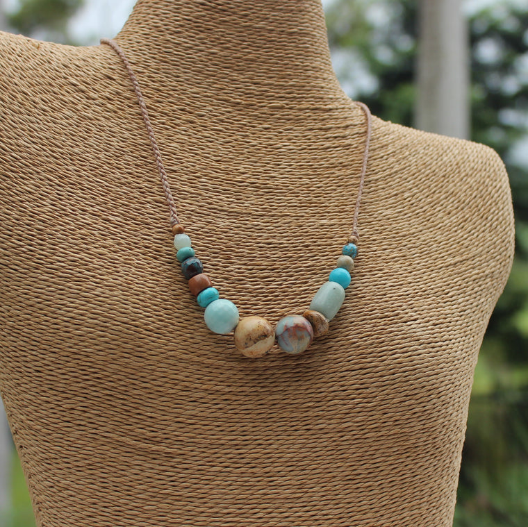 Gemstone and waxed cord necklace - Sandy Shores
