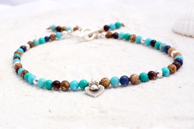 Hill Tribe Silver and Gemstone Anklet with Charm - Beach Days