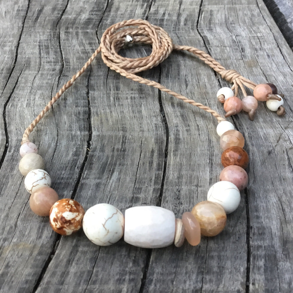Gemstone Necklace - Softly pink