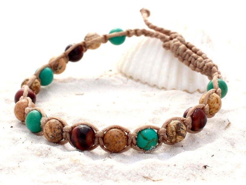 Macrame Beach Bracelet/Kids Anklet - Rainforest
