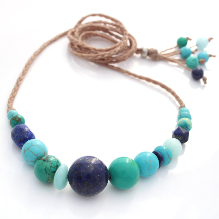 Gemstone and waxed cord necklace - The changing colours of the ocean