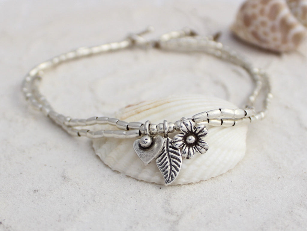 Anklet - Hill Tribe Silver Garden love
