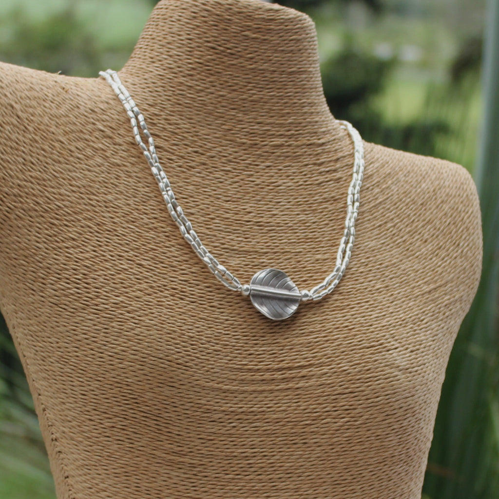 Hill Tribe Silver Leaf Pendant Necklace