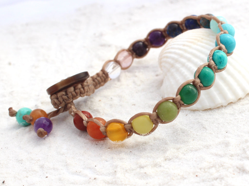Macrame Single Wrap Bracelet - Rainbow Chakra