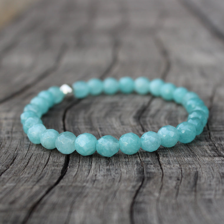 Blue Jade 6mm stretch bracelet
