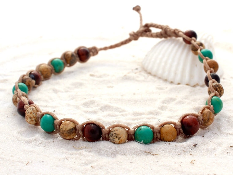 Macrame Beach Anklet - Rainforest