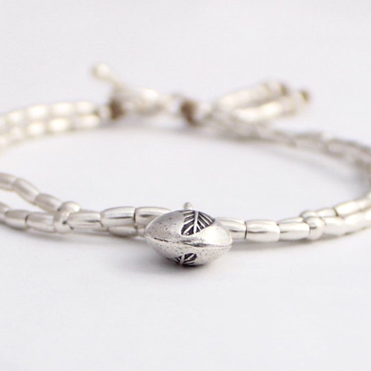 Bracelet - Hill Tribe Silver and leaf charm
