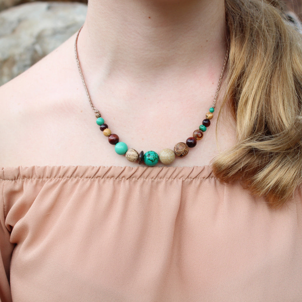 Gemstone and waxed cord necklace - Rainforest
