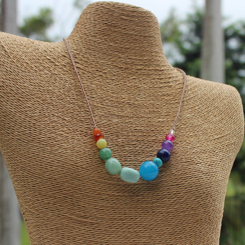 Gemstone and waxed cord necklace - Rainbow Chakra