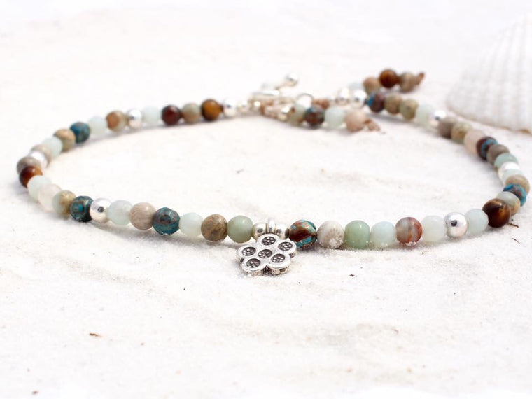 Hill Tribe Silver and Gemstone Anklet with Charm - Ocean Tones