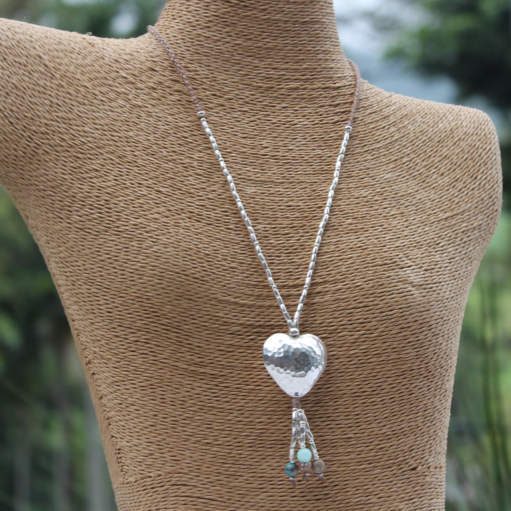 Hill Tribe Silver Heart Tassel Necklace