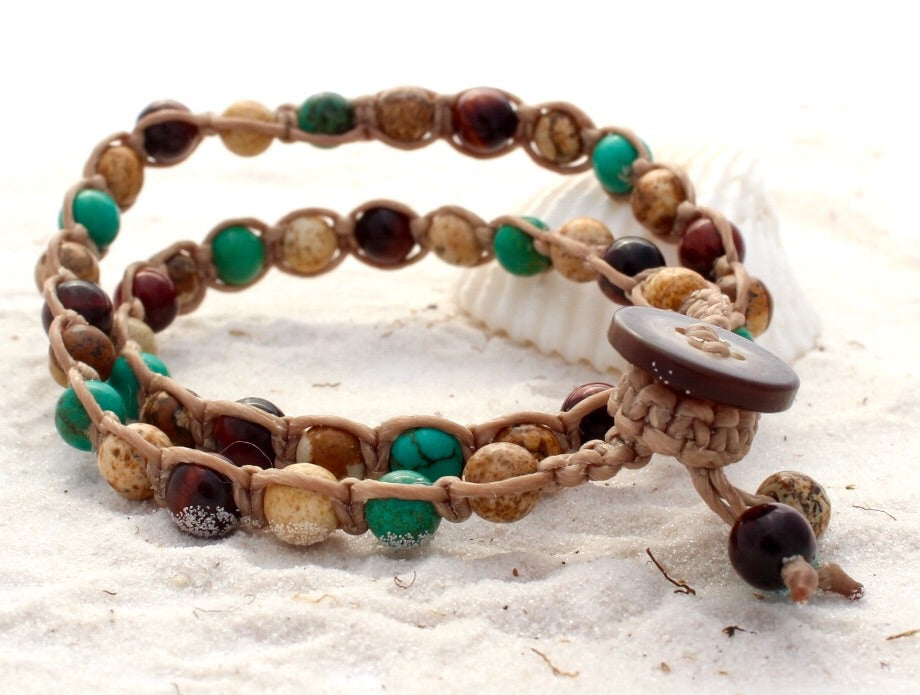 Macrame Double Wrap Bracelet - Rainforest