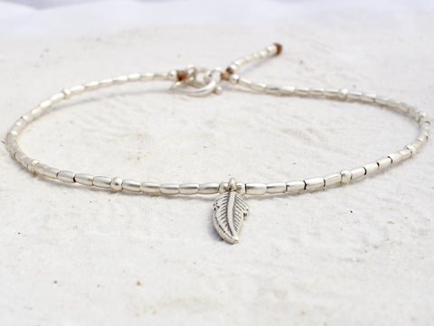 Anklet - Hill Tribe Silver - Peace Feather