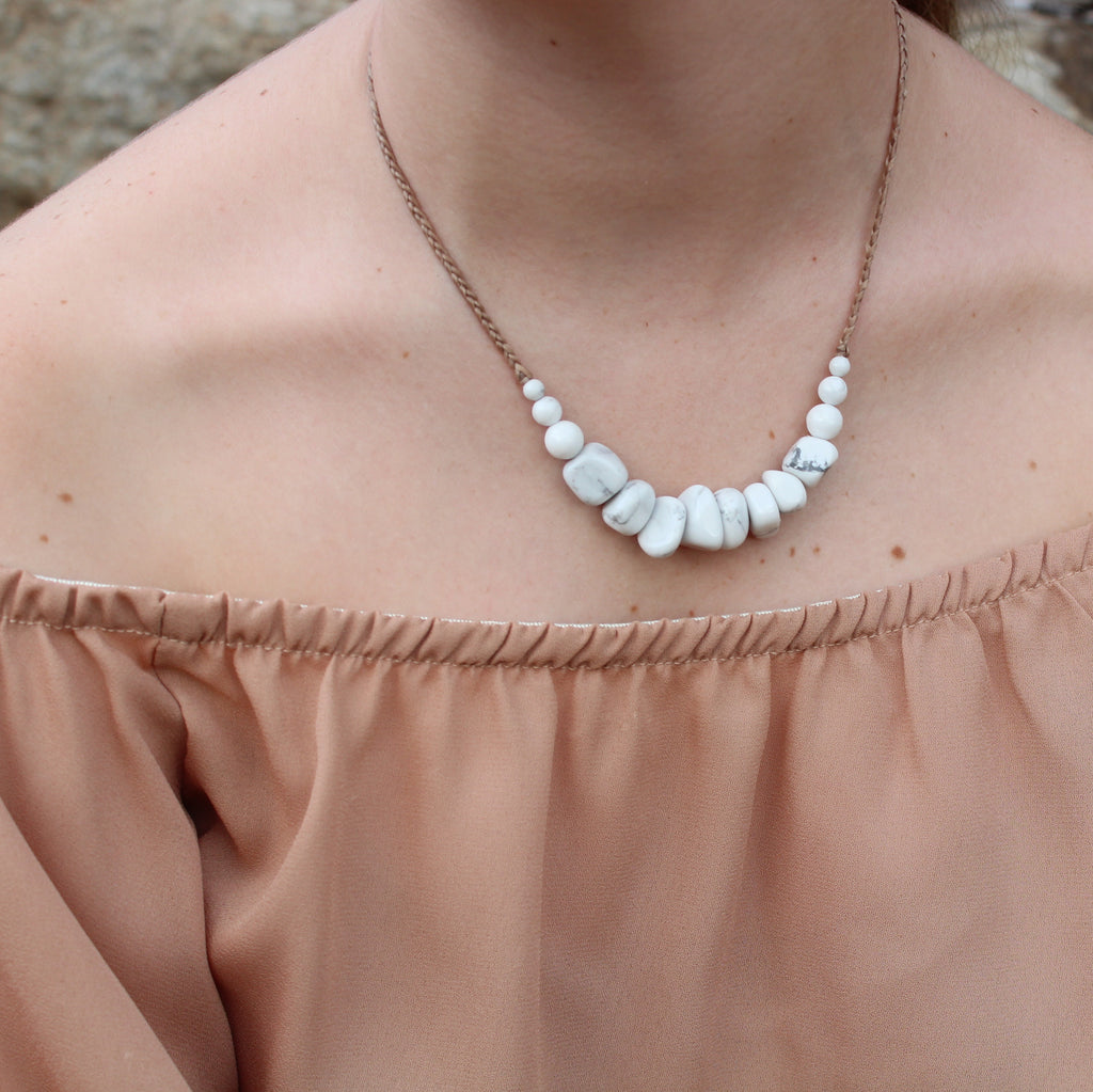Howlite Gemstone Necklace - Whitehaven