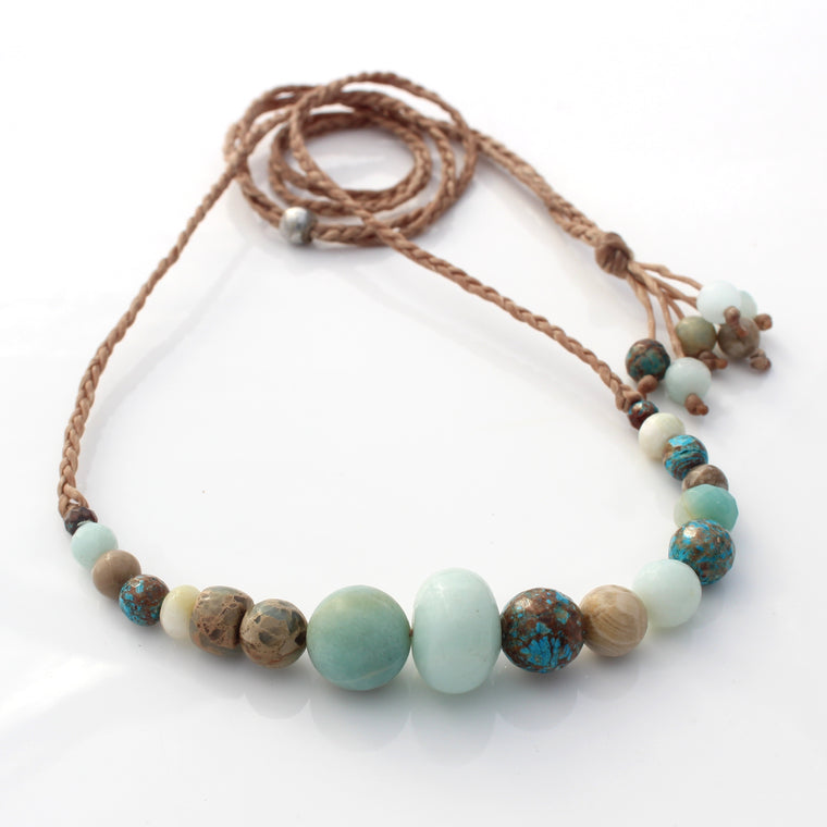 Gemstone and waxed cord necklace - Ocean Tones