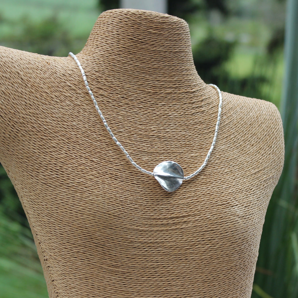 Hill Tribe Silver Wavy Disc Necklace
