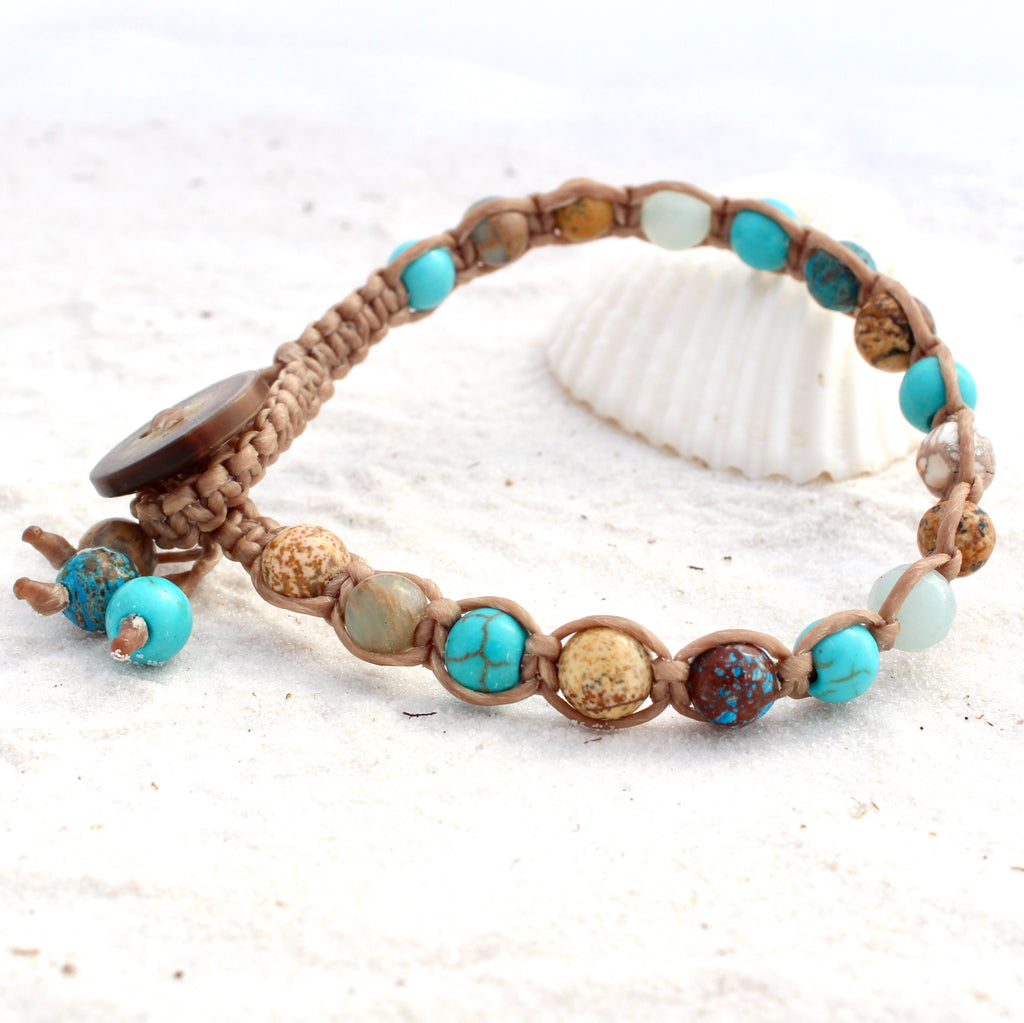 Macrame Single Wrap Bracelet - Sandy Shores
