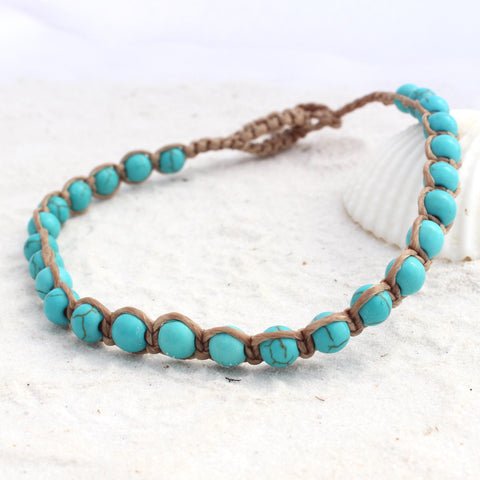 Macrame anklet - Turquoise