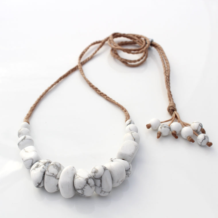 Gemstone and waxed cord necklace - Whitehaven