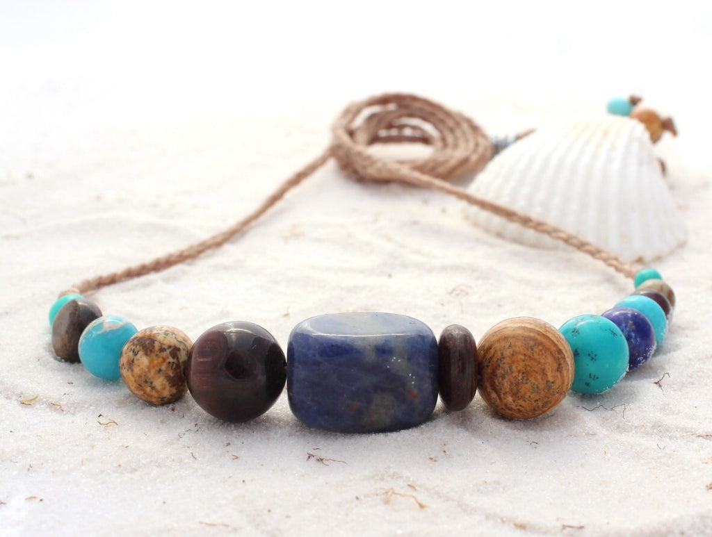 Gemstone and waxed cord necklace - Beach Days