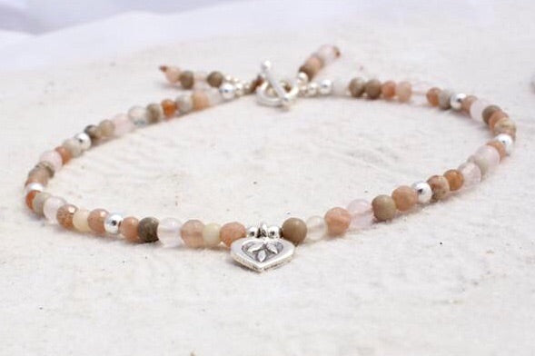 Hill Tribe Silver and Gemstone Anklet with Charm - Nude