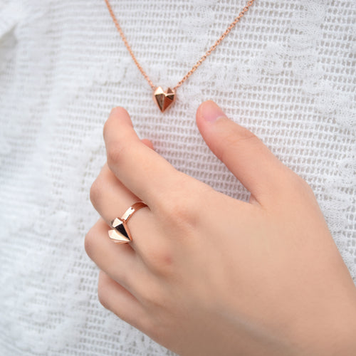 Diamond Heart 18K Rose Gold Necklace