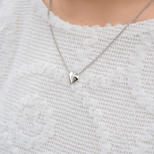 Diamond Heart 18K White Gold Necklace (New)