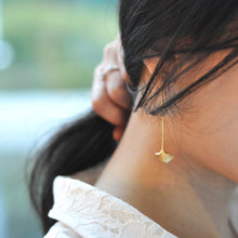 Ginkgo 18K Gold Drop Earrings