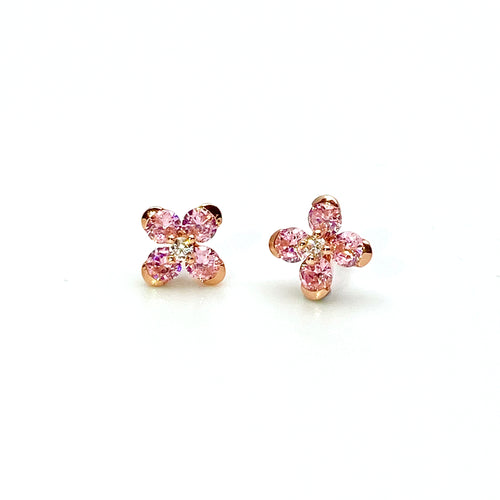 Pink Sweet Alyssum Rose Gold Earrings