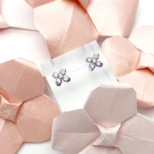 Lavender Sweet Alyssum White Gold Earrings