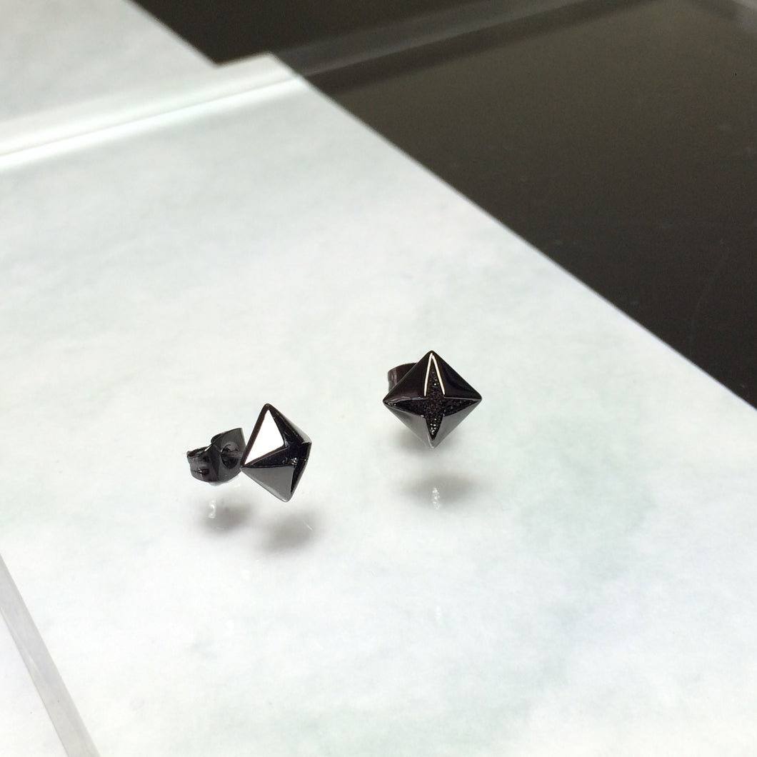 Men's Black Diamond Earrings